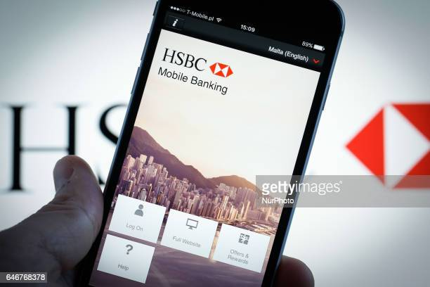 The smartphone app for HSBC banking is seen on 1 March in Bydgoszcz Poland Earlier HSBC aknowledged it has been having issues with its online banking...