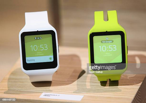 The SmartWatch 3 stands on display at the Sony stand at the 2015 IFA consumer electronics and appliances trade fair on September 4 2015 in Berlin...