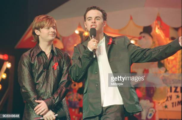 The Smash Hits Poll Winners Party 1996 hosted by Ant and Dec and Lily Savage Picture taken 1st December 1996 Picture shows Ant and Dec onstage...