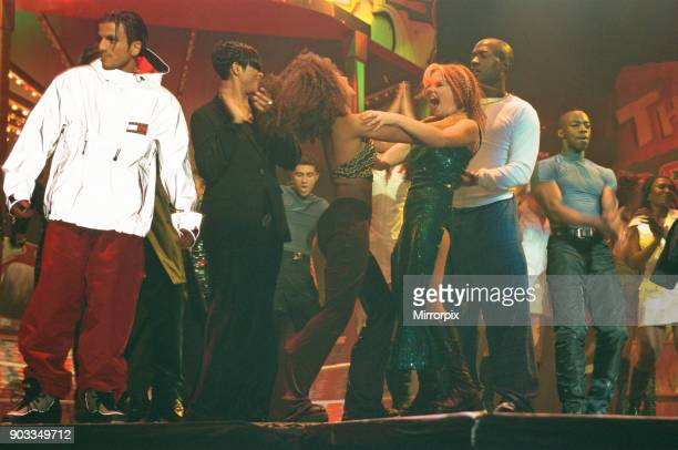 The Smash Hits Poll Winners Party 1996 hosted by Ant and Dec and Lily Savage Picture taken 1st December 1996 Picture shows Peter Andre Mel B Geri...