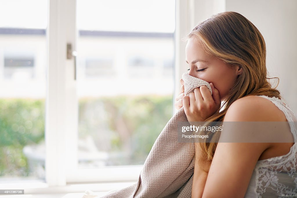 The smell of fresh towels : Stock Photo