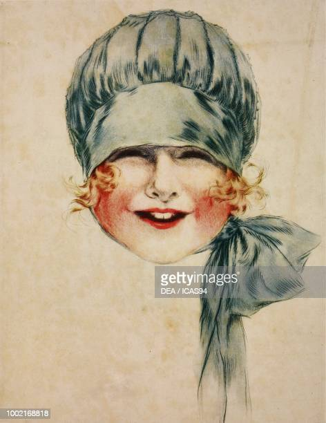 The smiling face of a baby wearing a blue bonnet illustration from the magazine Le Miroir des Modes vol 80 no 2 February 1920