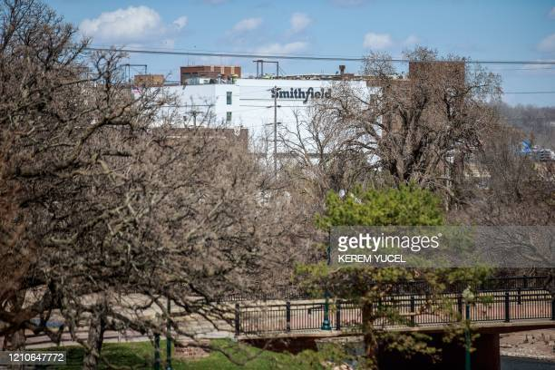 The Smithfield Foods pork processing plant in South Dakota one of the countrys largest known Coronavirus clusters is seen on April 21 2020 in Sioux...
