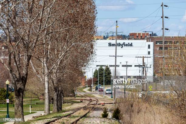 The Smithfield Foods pork processing plant in South Dakota one of the countrys largest known Coronavirus clusters is seen on April 20 2020 in Sioux...
