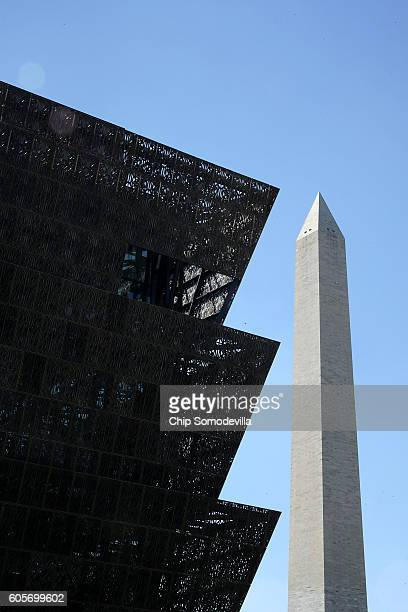 The Smithsonian's National Museum of African American History and Culture stands a block away from the Washington Monument on the National Mall...