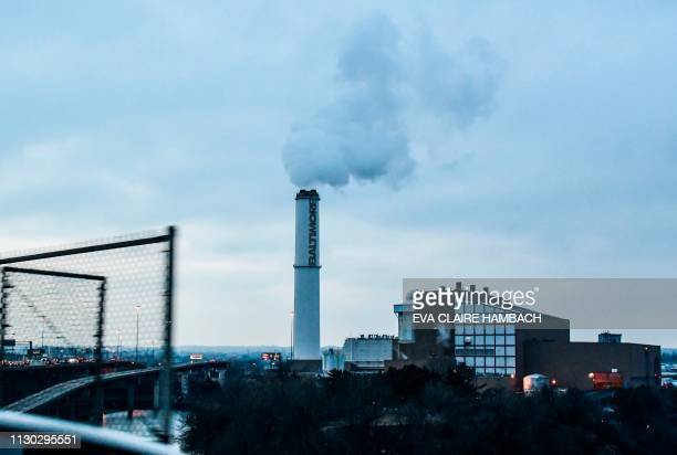 The smokestack of the Wheelabrator Incinerator is seen near Interstate 95 in Baltimore Maryland March 09 2019 The Wheelabrator Baltimore is a...