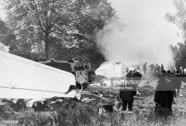 The smouldering wreckage of the BEA Trident 'Papa India' the day after it crashed near Staines en route from Heathrow to Brussels killing all 118...
