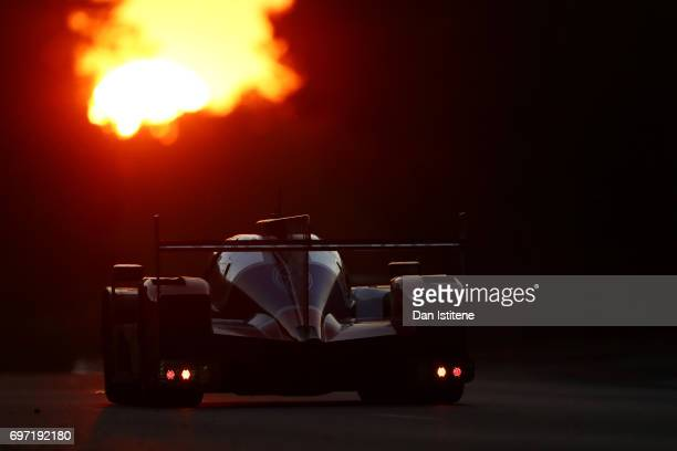 The SMP Racing Dallara of Mikhail Aleshin Viktor Shaytar and Sergey Sirotkin drives during the Le Mans 24 Hour Race at Circuit de la Sarthe on June...