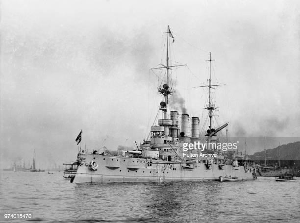 The SMS Deutschland a Deutschlandclass predreadnought battleship built for the German Kaiserliche Marine makes steam in July 1914 at Kiel in northern...