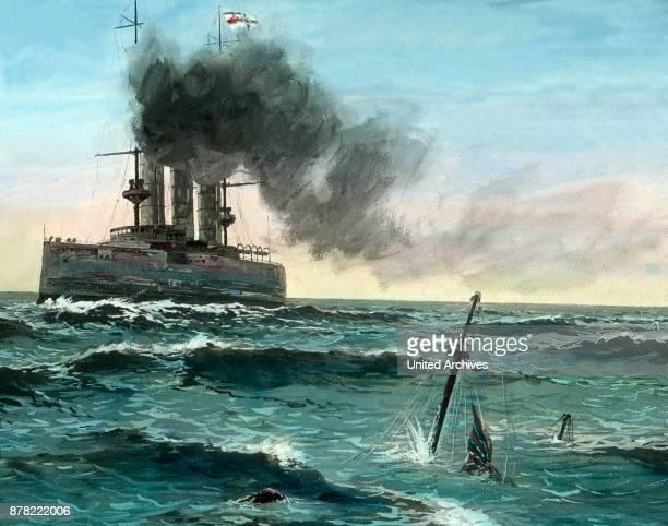 The SMS Moewe sinking a British merchant vessel