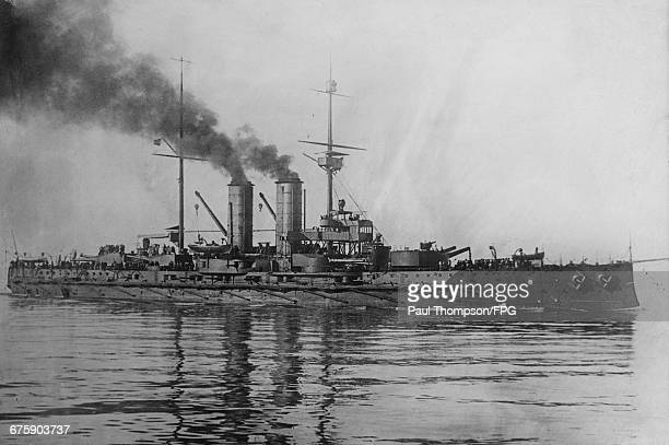 The SMS Radetzky a Radetzkyclass predreadnought battleship of the AustroHungarian Navy during the British Coronation Review for King George V in...