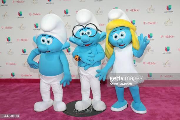 The Smurfs attend Univision's 29th Edition of Premio Lo Nuestro A La Musica Latina at the American Airlines Arena on February 23 2017 in Miami Florida