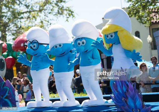 The Smurfs perform at Columbia Pictures and Sony Pictures Animation World Premiere of 'Smurfs The Lost Village' at Arclight Culver City on April 1 in...