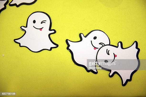 The Snapchat ghost is displayed during the TechFair LA job fair in Los Angeles California US on Thursday Jan 26 2017 Filings for US unemployment...