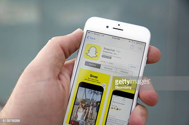 The Snapchat Inc application is displayed in the App Store on an Apple Inc iPhone 6 in this arranged photograph taken in the Venice Beach...