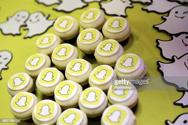 The Snapchat logo is seen on cupcakes during the TechFair LA job fair in Los Angeles California US on Thursday Jan 26 2017 Filings for US...