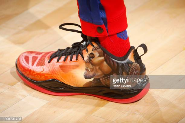 The sneaker of Langston Galloway of the Detroit Pistons prior to the game against the Utah Jazz on March 7 2020 at Little Caesars Arena in Detroit...