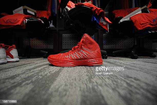 The sneaker of Ryan Hollins of the Los Angeles Clippers is shown before a Christmas Day game against the Denver Nuggets at Staples Center on December...