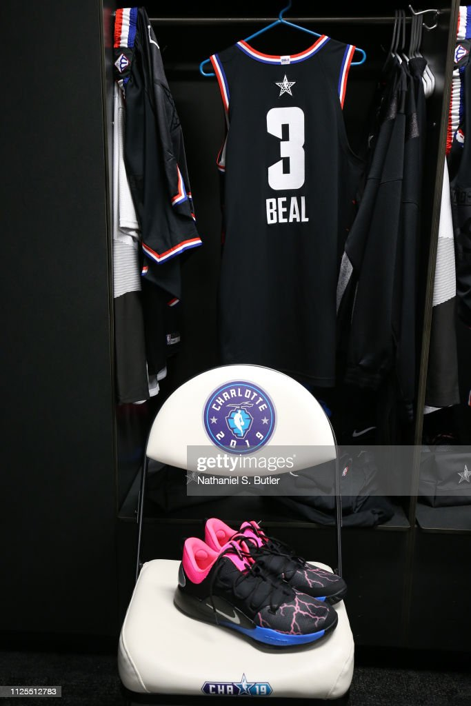 more photos 7d097 5fe77 The sneakers and jersey of Bradley Beal of Team LeBron are ...
