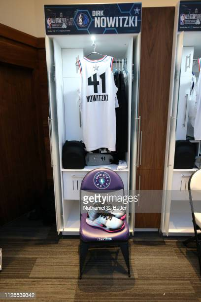 The sneakers and jersey of Dirk Nowitzki of Team Giannis are photographed prior to the 2019 NBA AllStar Game on February 17 2019 at the Spectrum...