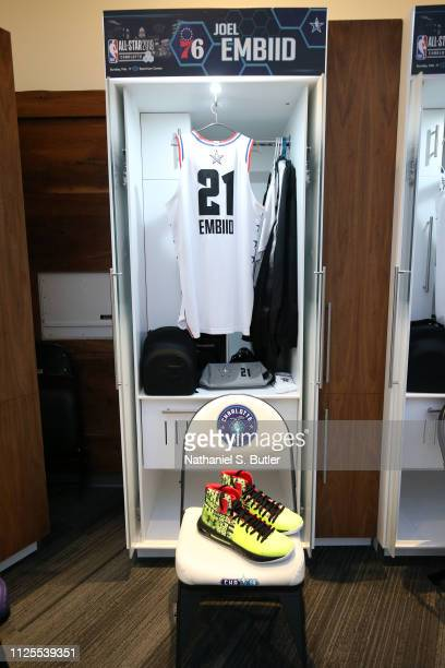 The sneakers and jersey of Joel Embiid of Team Giannis are photographed prior to the 2019 NBA AllStar Game on February 17 2019 at the Spectrum Center...