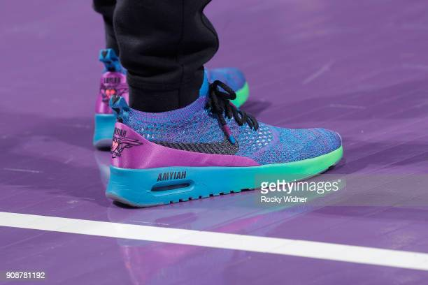 The sneakers belonging to assistant coach for player development Jenny Boucek of the Sacramento Kings in a game against the Utah Jazz on January 17...