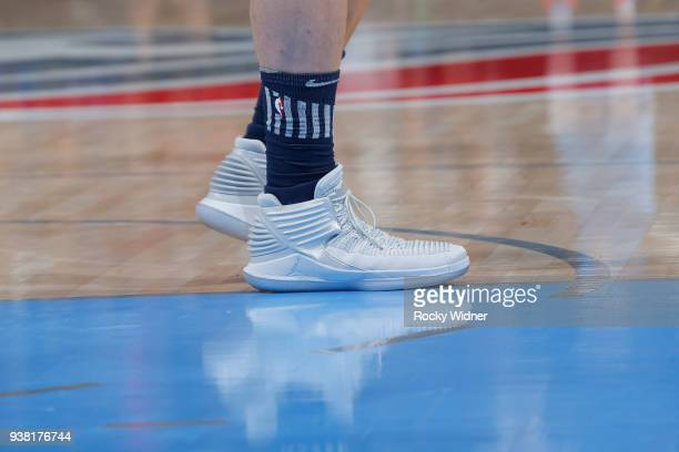 The sneakers belonging to Blake Griffin of the Detroit Pistons in a game against the Sacramento Kings on March 19 2018 at Golden 1 Center in...