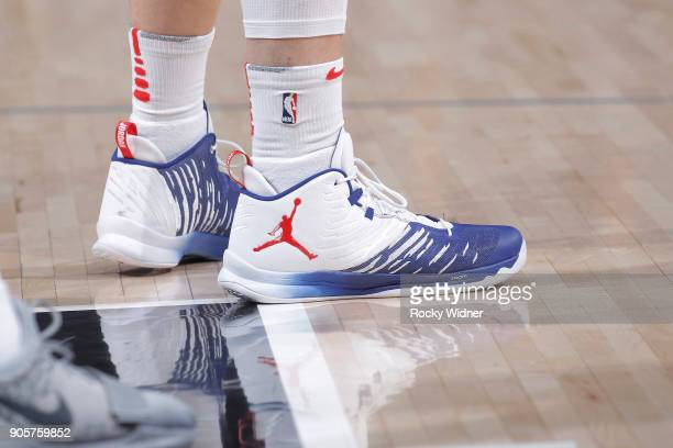 The sneakers belonging to Blake Griffin of the Los Angeles Clippers in a game against the Sacramento Kings on January 11 2018 at Golden 1 Center in...