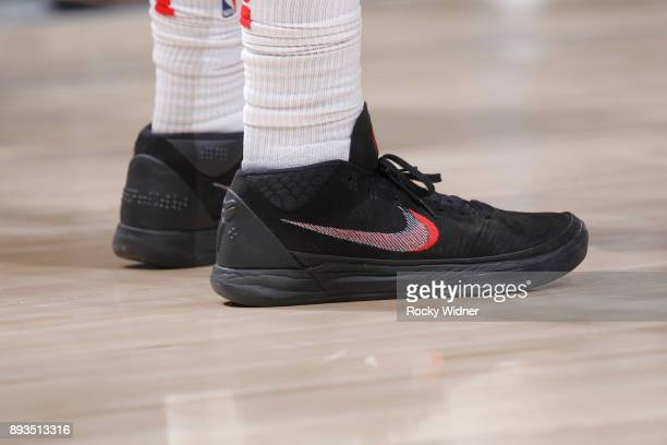 The sneakers belonging to CJ Miles of the Toronto Raptors in a game against the Sacramento Kings on December 10 2017 at Golden 1 Center in Sacramento...