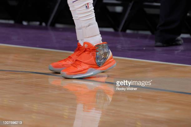 The sneakers belonging to De'Aaron Fox of the Sacramento Kings in a game against the Toronto Raptors on March 8 2020 at Golden 1 Center in Sacramento...