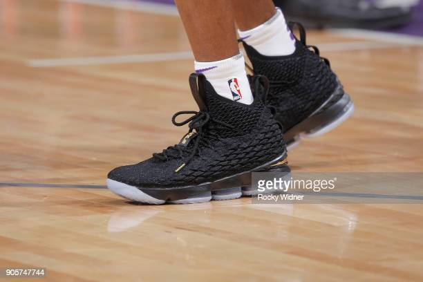 The sneakers belonging to De'Aaron Fox of the Sacramento Kings prior to the game against the San Antonio Spurs on January 8 2018 at Golden 1 Center...