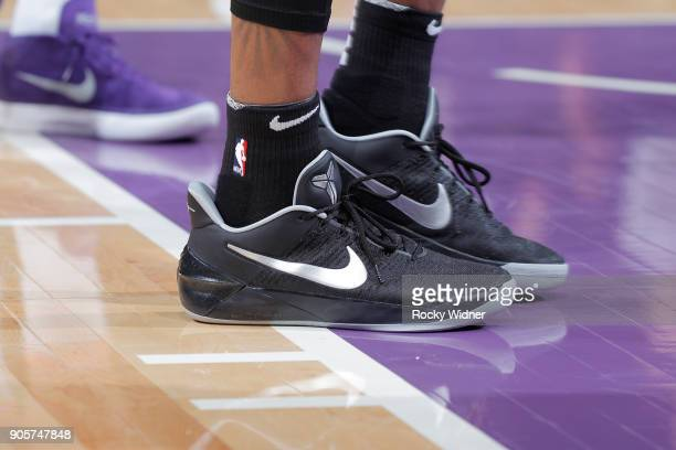The sneakers belonging to Dejounte Murray of the San Antonio Spurs in a game against the Sacramento Kings on January 8 2018 at Golden 1 Center in...
