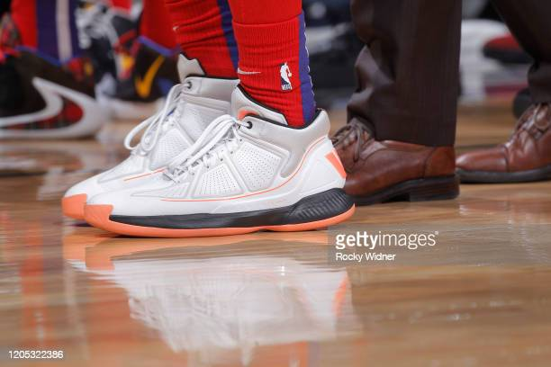 The sneakers belonging to Derrick Rose of the Detroit Pistons in a game against the Sacramento Kings on March 1 2020 at Golden 1 Center in Sacramento...