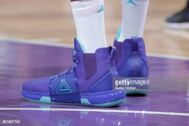 The sneakers belonging to Dwight Howard of the Charlotte Hornets in a game against the Sacramento Kings on January 2 2018 at Golden 1 Center in...