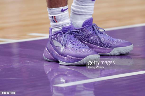 The sneakers belonging to Frank Mason III of the Sacramento Kings in a game against the Milwaukee Bucks on November 28 2017 at Golden 1 Center in...