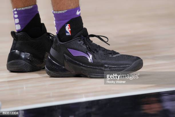 The sneakers belonging to Frank Mason III of the Sacramento Kings in a game against the Toronto Raptors on December 10 2017 at Golden 1 Center in...