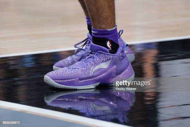 The sneakers belonging to Frank Mason III of the Sacramento Kings in a game against the Phoenix Suns on December 12 2017 at Golden 1 Center in...