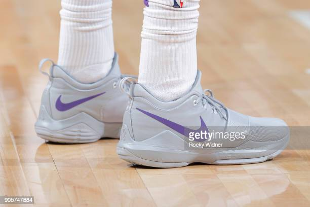 The sneakers belonging to Garrett Temple of the Sacramento Kings in a game against the San Antonio Spurs on January 8 2018 at Golden 1 Center in...