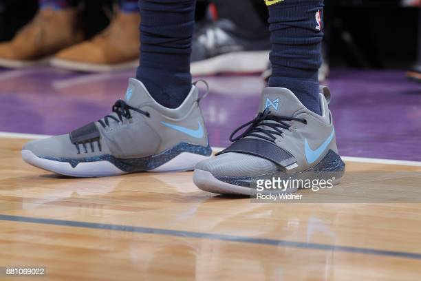 The sneakers belonging to Gary Harris of the Denver Nuggets in a game against the Sacramento Kings on November 20 2017 at Golden 1 Center in...