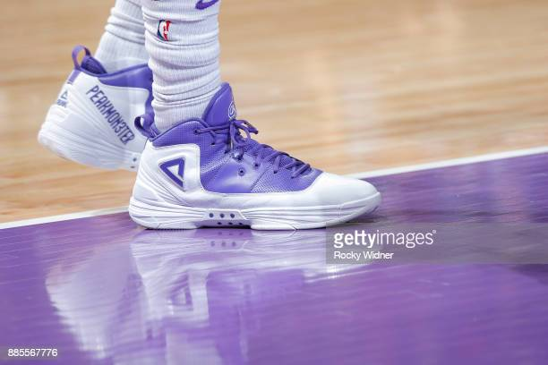 The sneakers belonging to George Hill of the Sacramento Kings in a game against the Milwaukee Bucks on November 28 2017 at Golden 1 Center in...