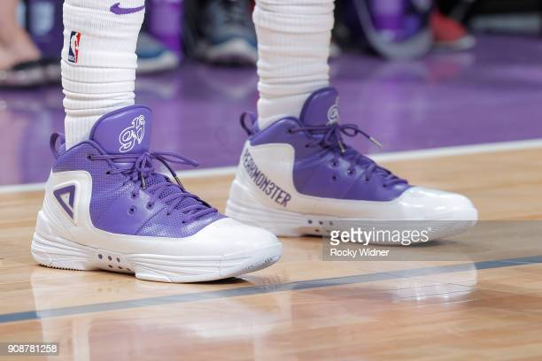 The sneakers belonging to George Hill of the Sacramento Kings in a game against the Utah Jazz on January 17 2018 at Golden 1 Center in Sacramento...