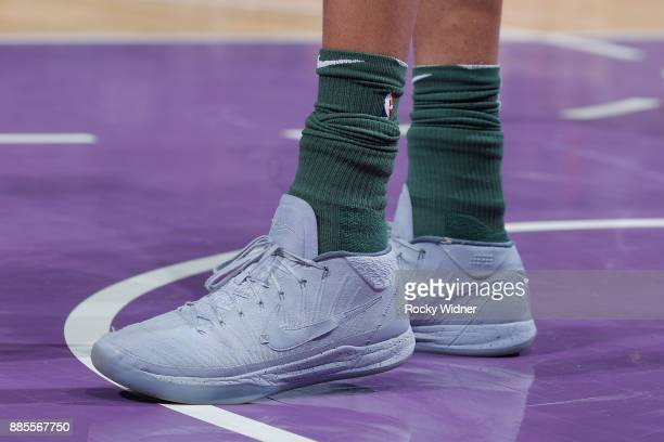The sneakers belonging to Giannis Antetokounmpo of the Milwaukee Bucks in a game against the Sacramento Kings on November 28 2017 at Golden 1 Center...
