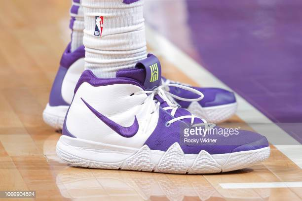 The sneakers belonging to Harry Giles of the Sacramento Kings in a game against the Utah Jazz on November 25 2018 at Golden 1 Center in Sacramento...