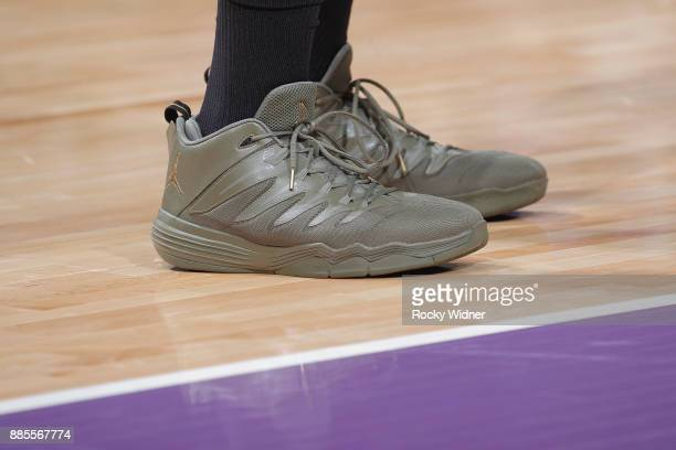 The sneakers belonging to Jabari Parker of the Milwaukee Bucks in a game against the Sacramento Kings on November 28 2017 at Golden 1 Center in...