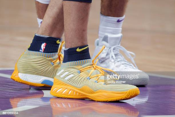 The sneakers belonging to Jamal Murray of the Denver Nuggets in a game against the Sacramento Kings on November 20 2017 at Golden 1 Center in...