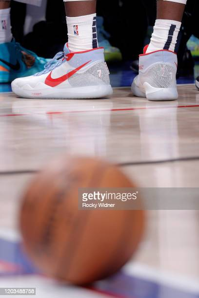 The sneakers belonging to Jaren Jackson Jr #13 of the Memphis Grizzlies in a game against the Sacramento Kings on February 20 2020 at Golden 1 Center...
