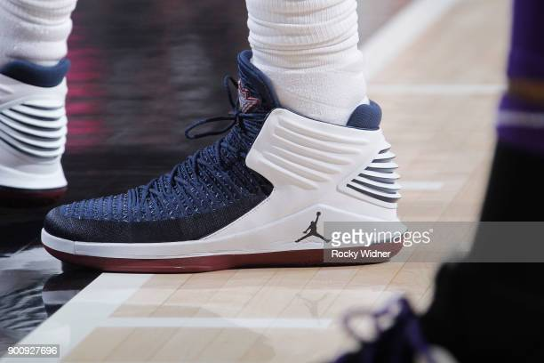 The sneakers belonging to Jeff Green of the Cleveland Cavaliers in a game against the Sacramento Kings on December 27 2017 at Golden 1 Center in...