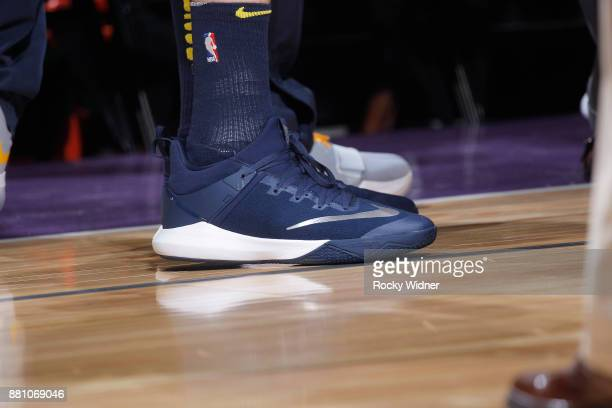 The sneakers belonging to Juan Hernangomez of the Denver Nuggets in a game against the Sacramento Kings on November 20 2017 at Golden 1 Center in...