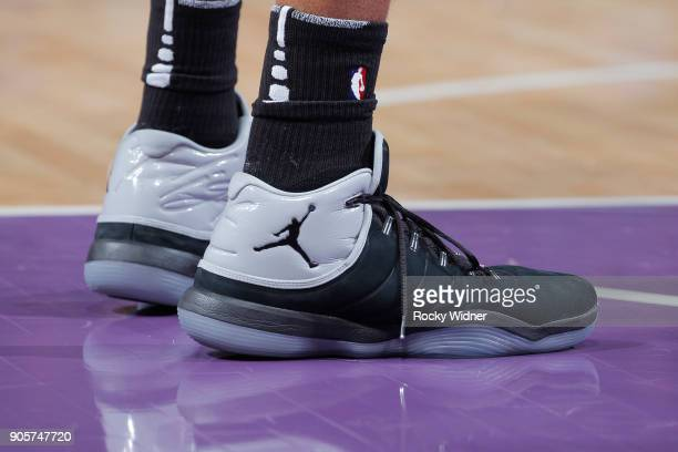 The sneakers belonging to LaMarcus Aldridge of the San Antonio Spurs in a game against the Sacramento Kings on January 8 2018 at Golden 1 Center in...