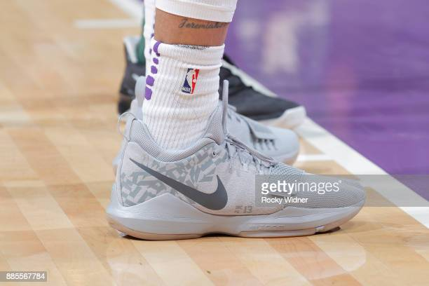 The sneakers belonging to Malachi Richardson of the Sacramento Kings in a game against the Milwaukee Bucks on November 28 2017 at Golden 1 Center in...
